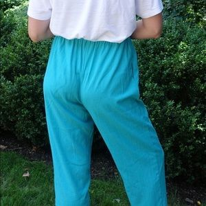 Vintage Sanmoire Green Elastic Waist Stretchy Pant